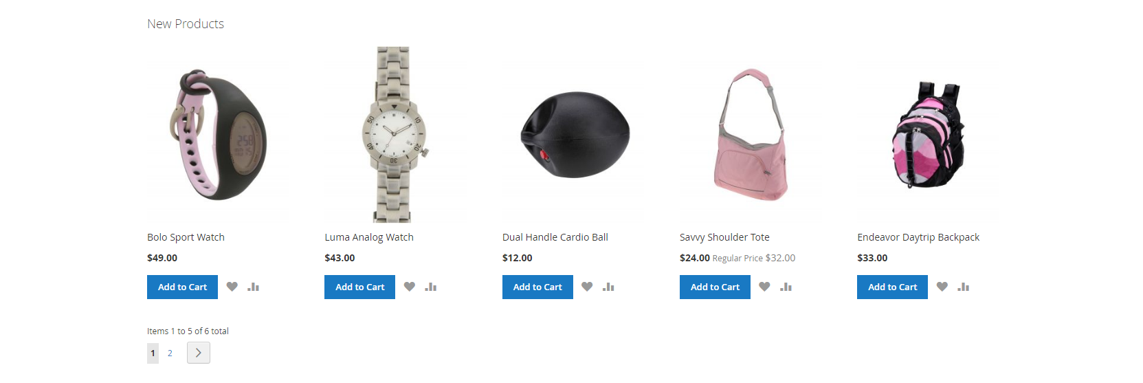 New Products List on Home Page