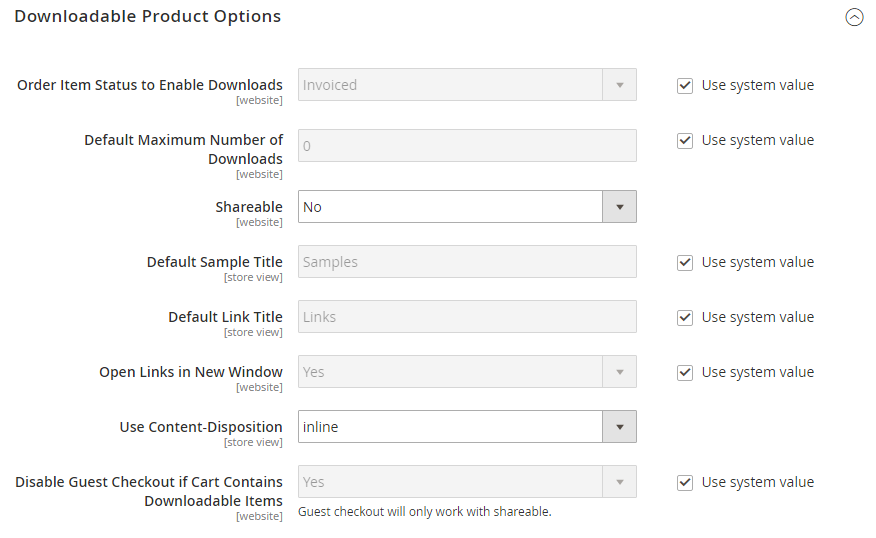 Downloadable Product Options
